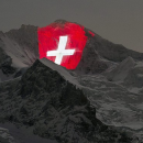 The Red Railways light up the Jungfrau